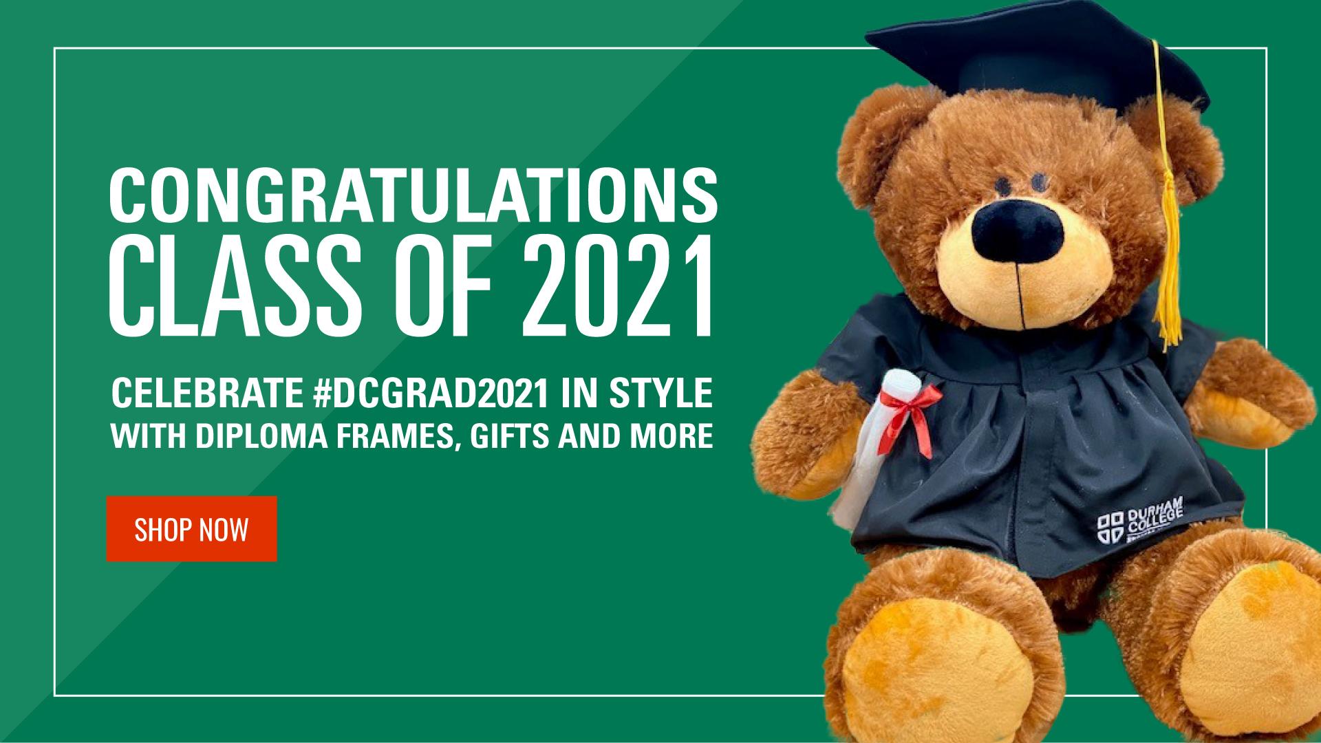 Congrats DC Grads with graduation bear, shop now button