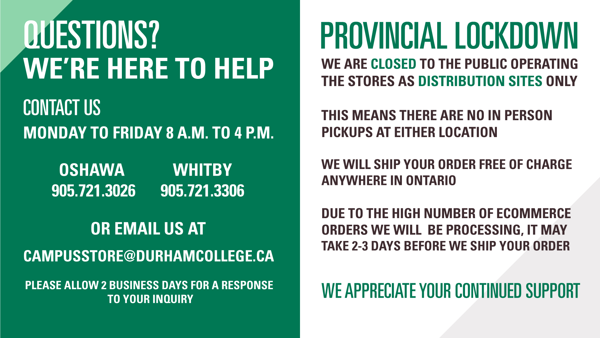 Campus store closed for provincial lockdown
